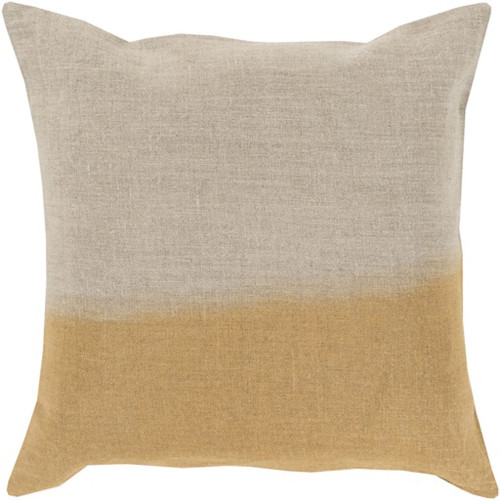 "22"" Gold and Gray Contemporary Square Throw Pillow - IMAGE 1"