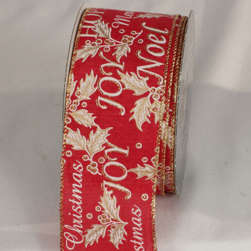 """Red and Gold Joy Print Wired Ribbon 2.5"""" x 20 Yards - IMAGE 1"""