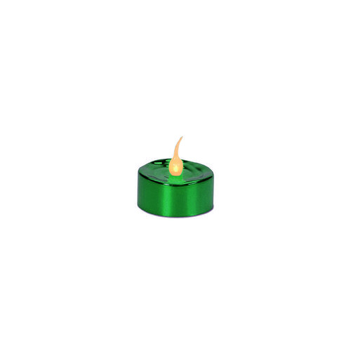 Pack of 4 LED Lighted Battery Operated Flicker Flame Green Christmas Tea Light Candles - IMAGE 1