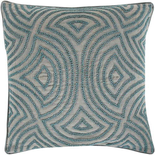 """20"""" Blue and Stone Gray Contemporary Square Throw Pillow - Down Filler - IMAGE 1"""