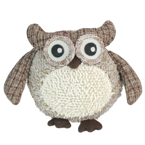 """12"""" Brown and Ivory Plaid Owl with Textured Plush Tabletop Christmas Figure - IMAGE 1"""