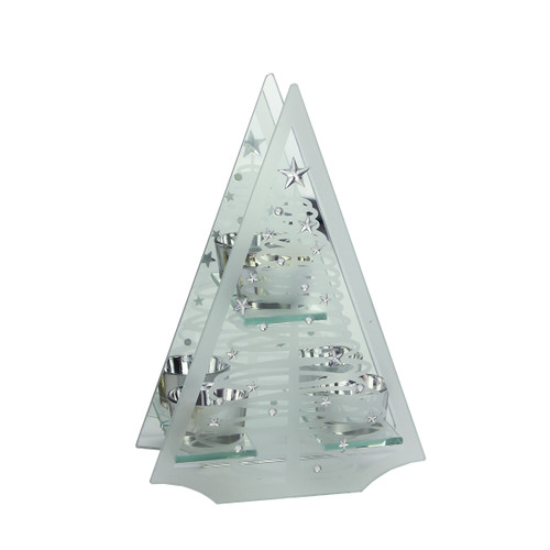 """10"""" Clear Frosted Glass Mirror Christmas Tree Tea Light Candle Holder - IMAGE 1"""