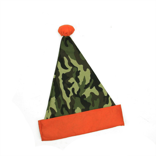 Green and Orange Camouflage Unisex Adult Christmas Santa Hat Costume Accessory - One Size - IMAGE 1