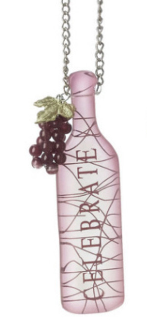 "Tuscan Winery CELEBRATE Wine Bottle with GrapesTag Christmas Ornament 5"" - IMAGE 1"