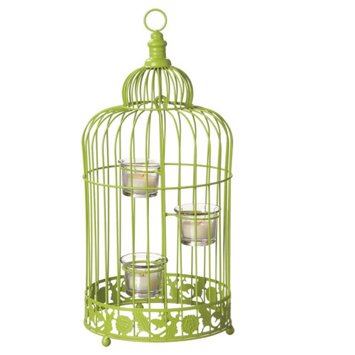 """17"""" Fancy Fair Contemporary Style Lime Green Birdcage Tea Light Candle Holder - IMAGE 1"""