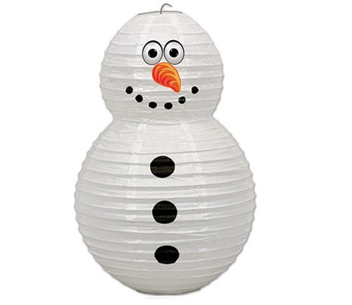 """Pack of 6 White and Black Snowman Christmas Lanterns 19"""" - IMAGE 1"""