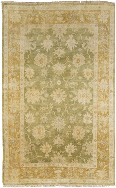 5.5' x 8.5' Grecian Grandeur Tan Brown and Olive Green Hand Knotted Wool Area Throw Rug - IMAGE 1