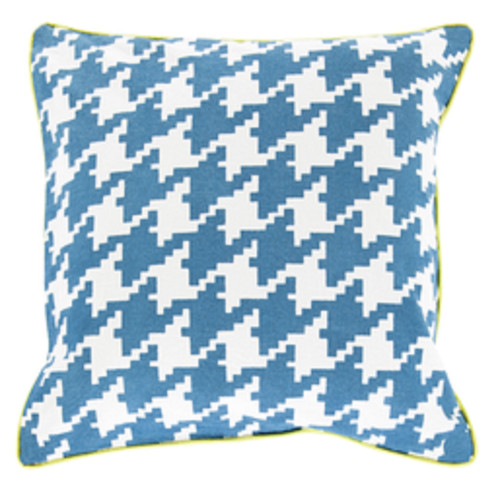 """20"""" Blue, White and Bright Green Decorative Throw Pillow - Polyester Filler - IMAGE 1"""
