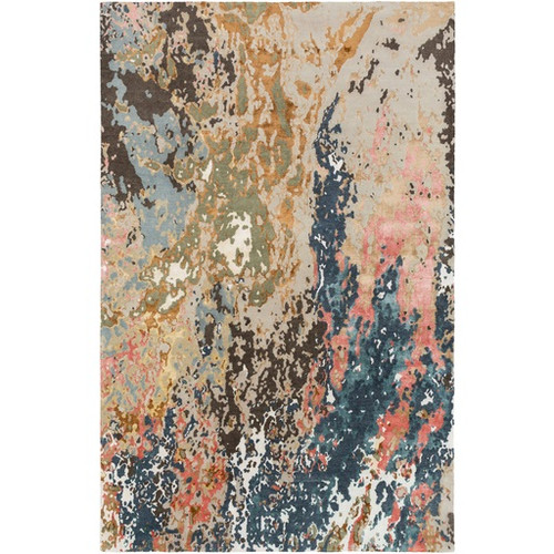 6' x 9' Blue and Tan Brown Contemporary Wool Area Throw Rug - IMAGE 1