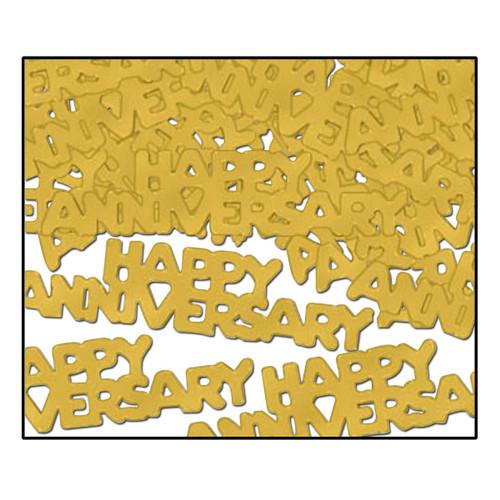 Club Pack of 12 Gold Fanci-Fetti Happy Anniversary Celebration Confetti Bags 0.5 Oz - IMAGE 1