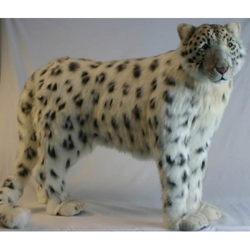 "48"" Ivory and Black Handcrafted Snow Leopard Stuffed Animal - IMAGE 1"