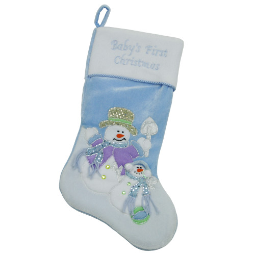 """21"""" Blue and White 'Baby's First Christmas' Snowman Christmas Stocking - IMAGE 1"""