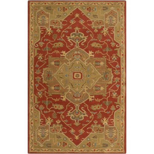 8' x 11' Elegant Caesar Red and Brown Hand Tufted Rectangular Wool Area Throw Rug - IMAGE 1
