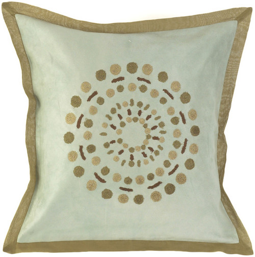 """18"""" Green and Brown Square Contemporary Throw Pillow - IMAGE 1"""