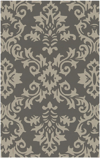2' x 3' Medieval Battleship Gray and Vanilla White Hand Tufted New Zealand Wool Area Throw Rug - IMAGE 1
