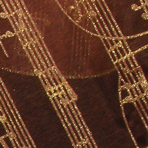 """Sheer Amber and Gold Mozart Musical Notes Wired Craft Ribbon 3"""" x 27 Yards - IMAGE 1"""