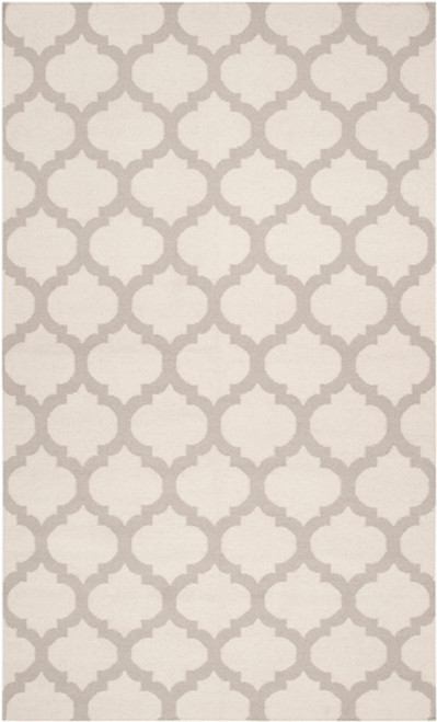 8' x 11' Gated Passage Cream White and Gray Hand Woven Wool Area Throw Rug - IMAGE 1