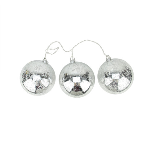 Set of 3 Lighted Silver Mercury Glass Finish Ball Christmas Ornaments - Clear Lights - IMAGE 1