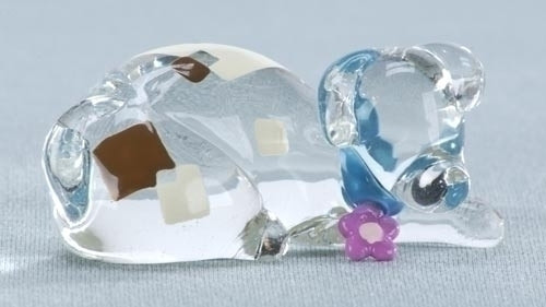 """2.5"""" Colorful Abstract Resting Dog Glass Figurine - IMAGE 1"""