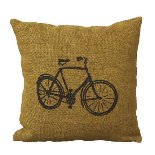 """18"""" Green and Black Bicycle Print Contemporary Square Throw Pillow - IMAGE 1"""