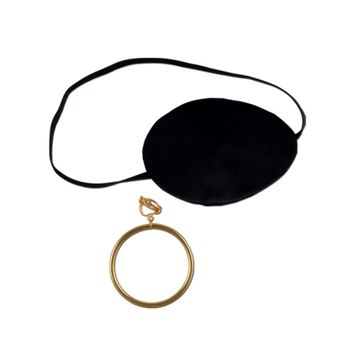 """Club Pack of 12 Pirate Eye Patch and Earring Halloween Costume Accessories 3"""" - IMAGE 1"""