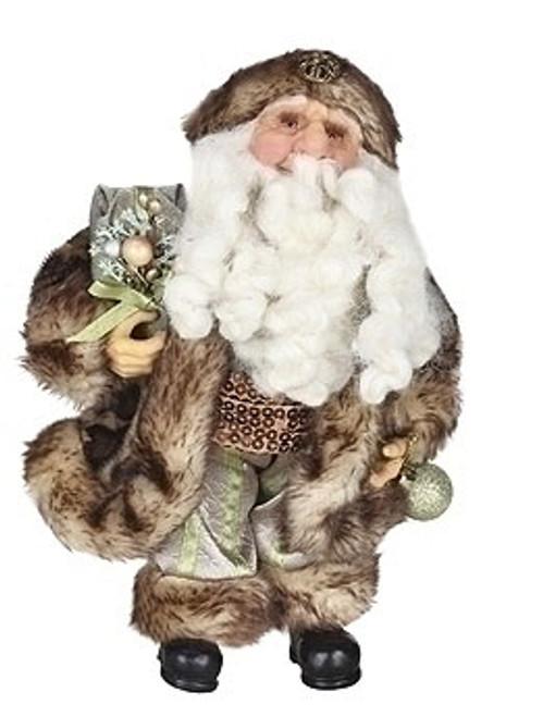 "10"" Brown and Gray Christmas Santa Claus in Cheetah Faux Fur Suit Figure - IMAGE 1"
