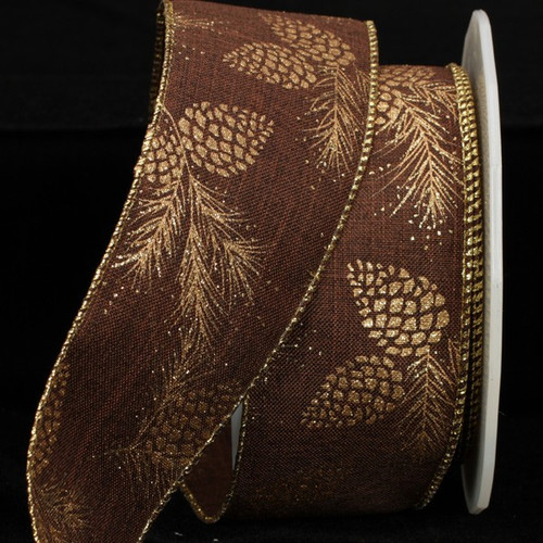 """Brown and Gold Pine Cones Wired Craft Ribbon 2.5"""" x 40 Yards - IMAGE 1"""
