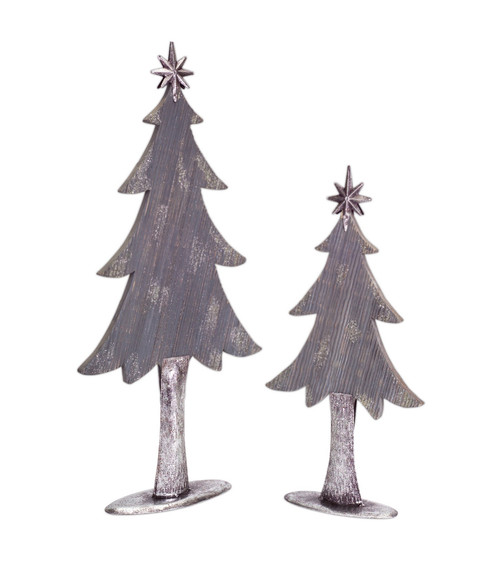"Set of 2 Gray and Silver Christmas Tree Tabletop Decor 27"" - IMAGE 1"