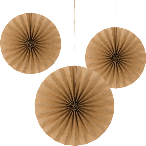 """Club Pack of 18 Brown Kraft Paper  Hanging Tissue Paper Fan Party Decorations 16"""" - IMAGE 1"""