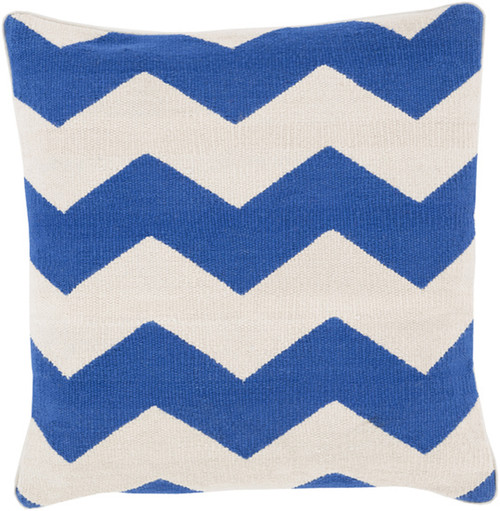 "22"" Blue and Ivory Chevron Striped Square Throw Pillow - IMAGE 1"