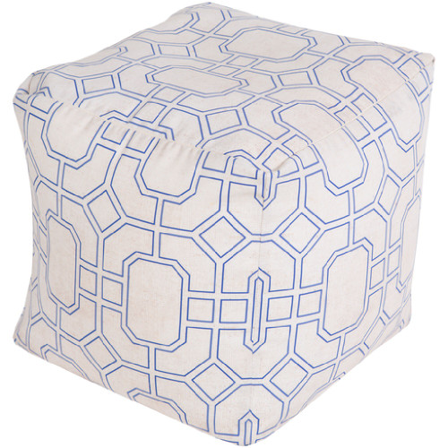"18"" Midnight Blue and Light Gray Geometric Shapes Square Outdoor Patio Pouf Ottoman - IMAGE 1"