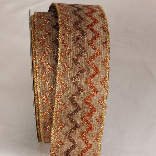 "Brown and Gold Sparkle Chevron Wired Craft Ribbon 2"" x 20 Yards - IMAGE 1"
