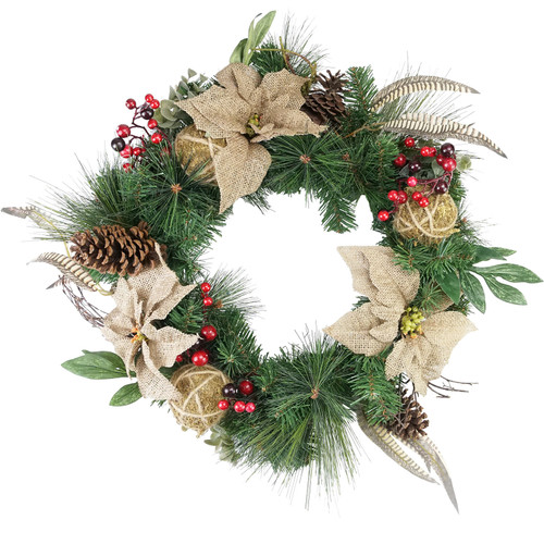 Mixed Pine Berry and Burlap Poinsettia Artificial Christmas Wreath - 24-Inch, Unlit - IMAGE 1