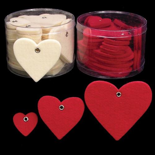 "Club Pack of 144 Ivory Fuzzy Felt Birthday Hearts 3"" - IMAGE 1"