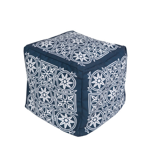 "18"" Cobalt Blue and Cream Encompassed Flowers Square Outdoor Patio Pouf Ottoman - IMAGE 1"