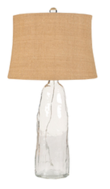"""31"""" Clear Contemporary Glass Table Lamp with Tan Modified Drum Shade - IMAGE 1"""