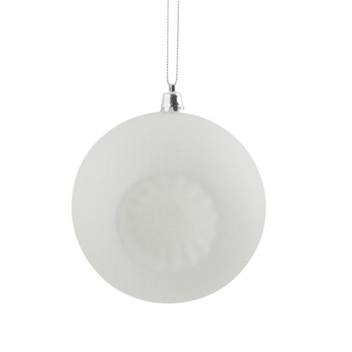 "6ct Winter White Shatterproof Matte Christmas Ball Ornaments 4"" (100mm) - IMAGE 1"