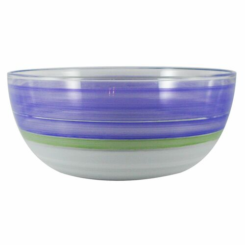 """11"""" Purple and White Contemporary Striped Glass Serving Bowl - IMAGE 1"""