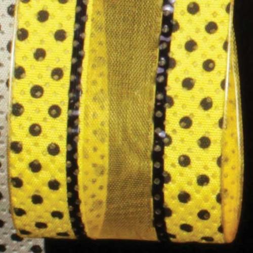 "Yellow and Black Polka Dots Wired Craft Ribbon 1.5"" x 40 Yards - IMAGE 1"