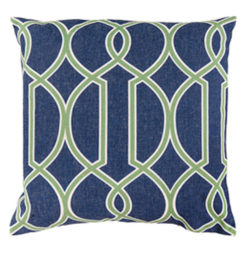"""22"""" Blue and Lime Green Square Throw Pillow - Poly Filled - IMAGE 1"""