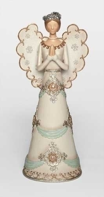 "12.5"" White and Brown Angel Christmas Tabletop Figure - IMAGE 1"