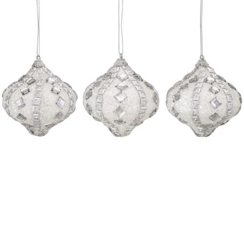 "3ct White and Silver Rhinestone Glitter Shatterproof Onion Drop Christmas Ornaments 3"" (75mm) - IMAGE 1"