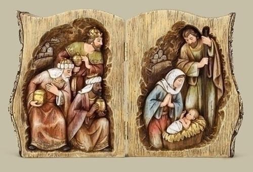"13.75"" Vibrantly Colored Joseph Nativity Scene Folding Log Tabletop - IMAGE 1"