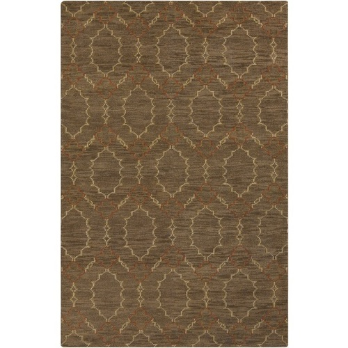 2' x 3' Diamond Clover Chain Brown Hand Knotted Rectangular Area Throw Rug - IMAGE 1