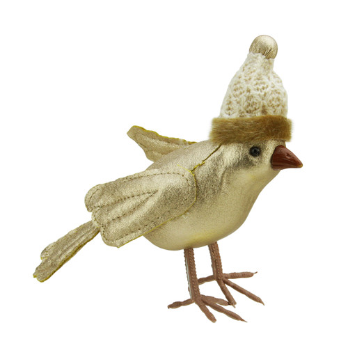 """5"""" Gold Bird Wearing Knitted Winter Hat Christmas Ornament - IMAGE 1"""