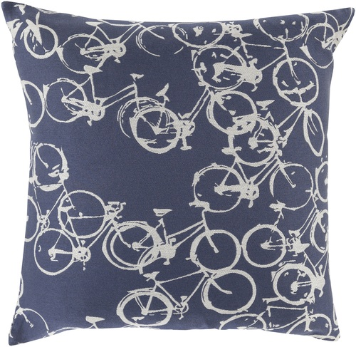 """22"""" Gray and Blue Crazed Cycles Printed Square Throw Pillow - IMAGE 1"""
