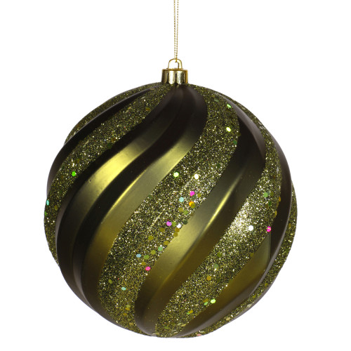 "Glitter Olive Green Shatterproof Swirl Christmas Ball Ornament 6"" (150mm) - IMAGE 1"