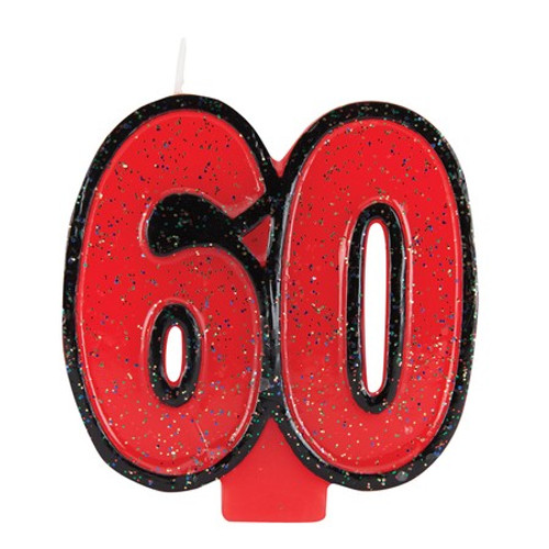 """Club Pack of 12 Fire Engine Red and Black Bold Glitter Molded Numeral """"60"""" Party Candles 3.5"""" - IMAGE 1"""