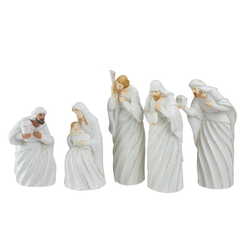 """5pc White and Silver Holy Family with Men Christmas Nativity Figure Set 7.25"""" - IMAGE 1"""