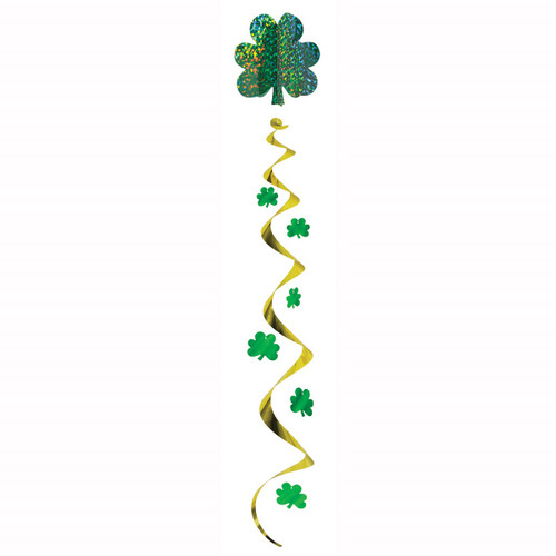 """Club Pack of 12 Green and Gold Shamrock St. Patrick's Day Jumbo Hanging Whirl Decorations 48"""" - IMAGE 1"""